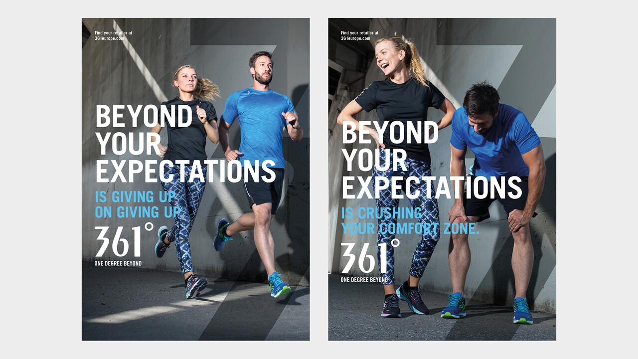 361° Plakate Beyond your expectations junge Frau und junger Mann joggend und erschöpft