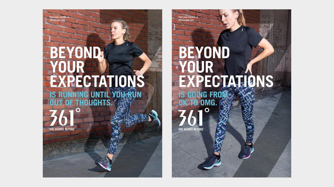 361° Plakate Beyond your expectations junge Frau in Jogging Pants joggend und erschöpft