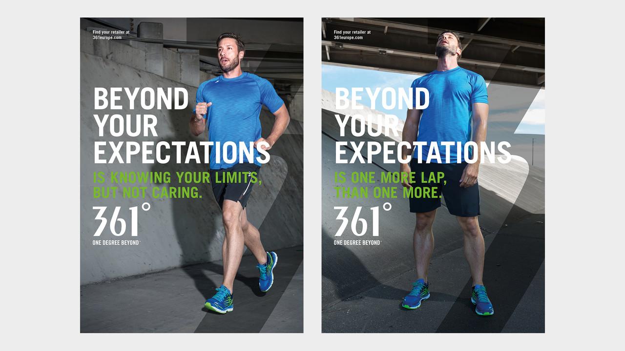361° Plakate Beyond your expectations junger Mann joggend und erschöpft