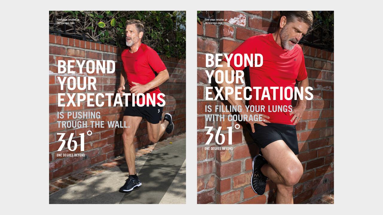 361° Plakate Beyond your expectations aelterer Mann joggend und erschöpft an einer Wand lehnend