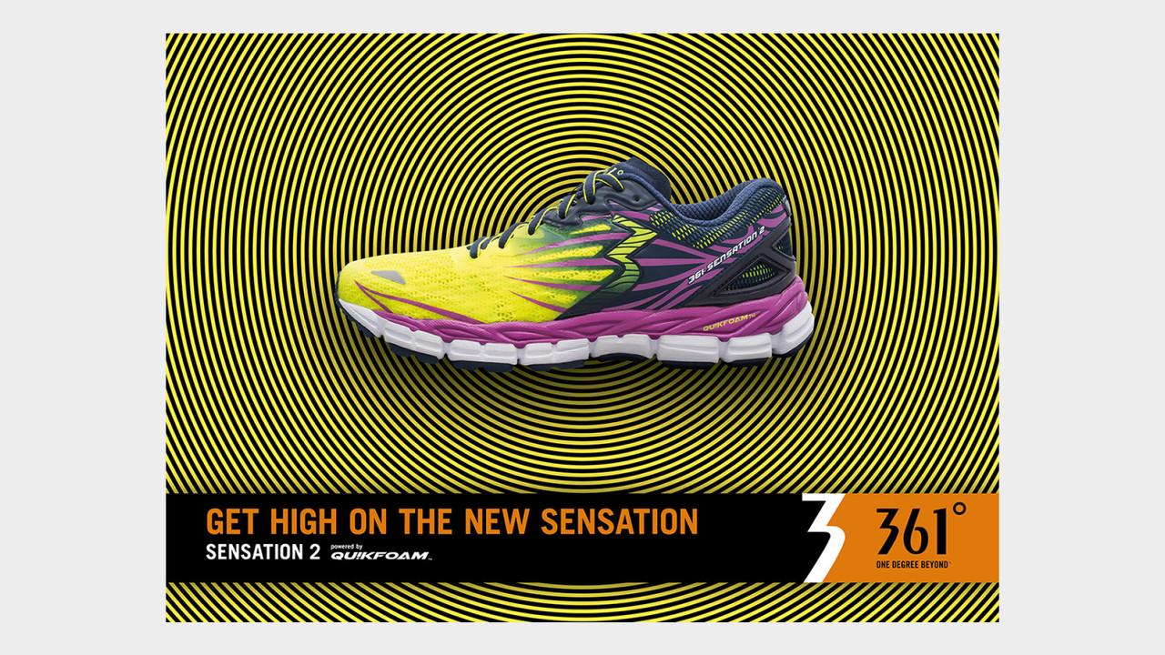 361° Sensation 2 gelb-pinker Laufschuh auf gelb-schwarzen Kreisen