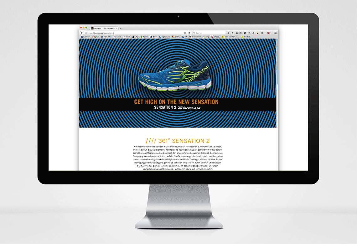 361° Sensation 2 Website auf einem iMac