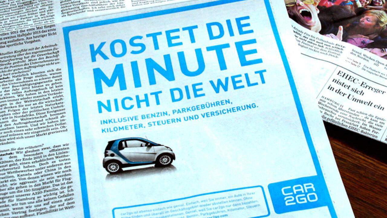 car2go Print Anzeige Kostet die Minute nicht die Welt