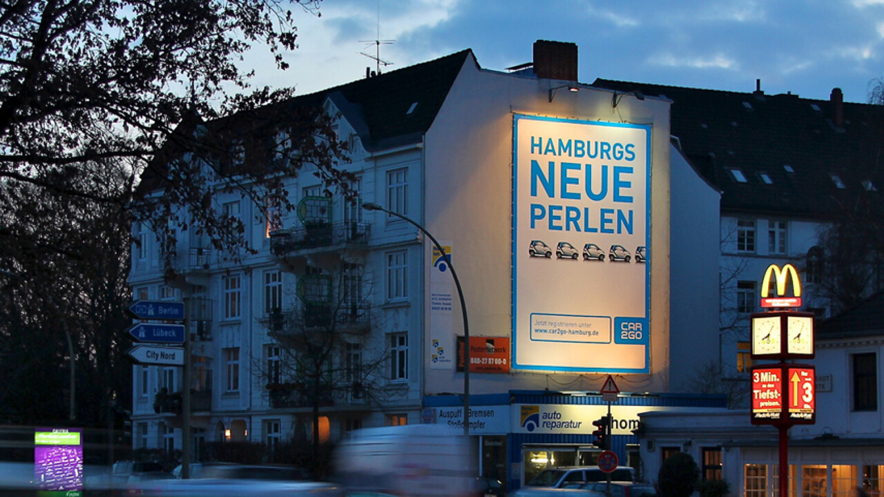 car2go Riesenposter Hamburgs neue Perlen