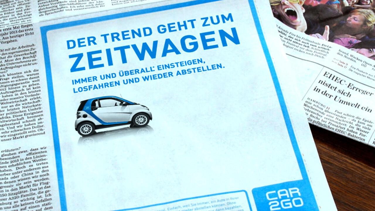 car2go Print Anzeige Der Trend geht zum Zeitwagen