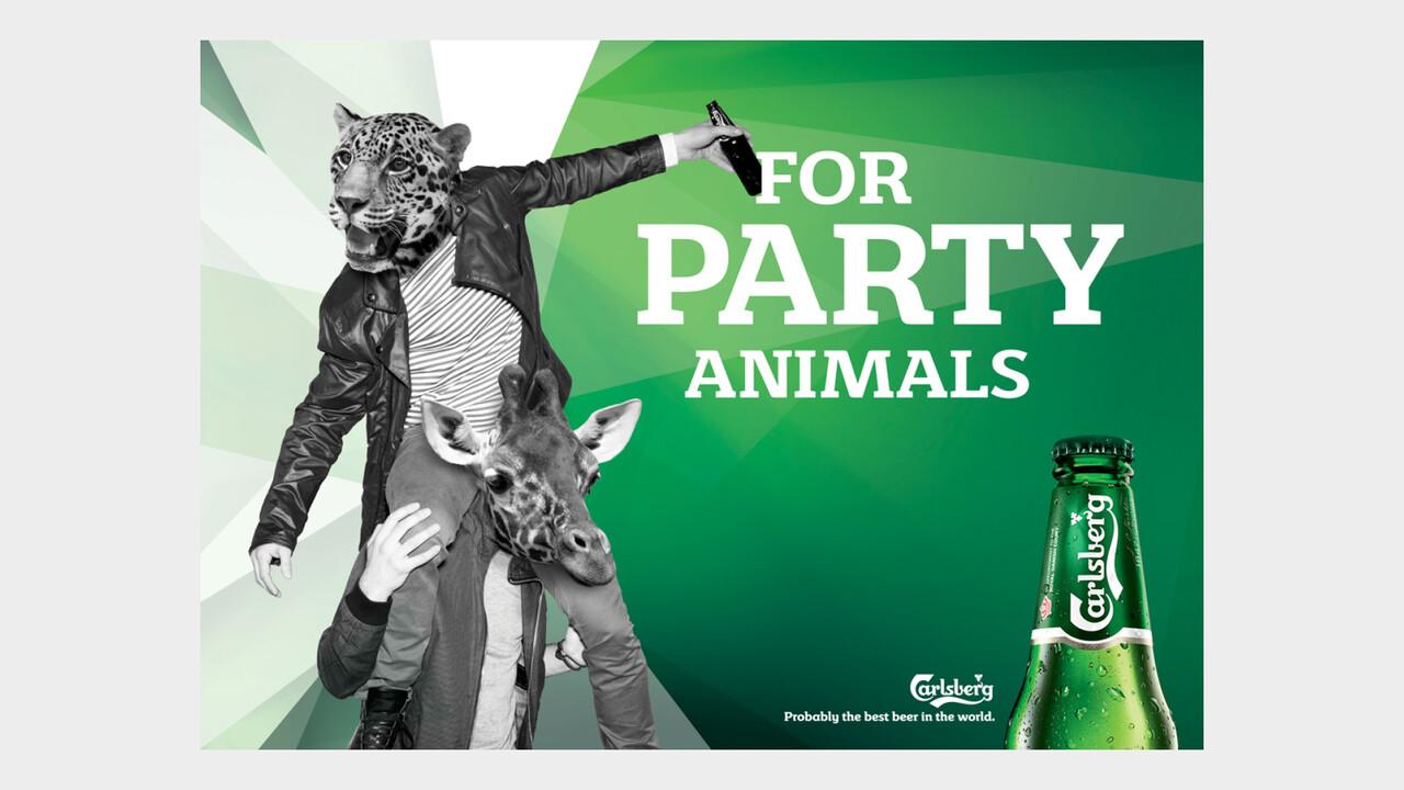 Carlsberg OOH Anzeige For party animals Leopard und Giraffe