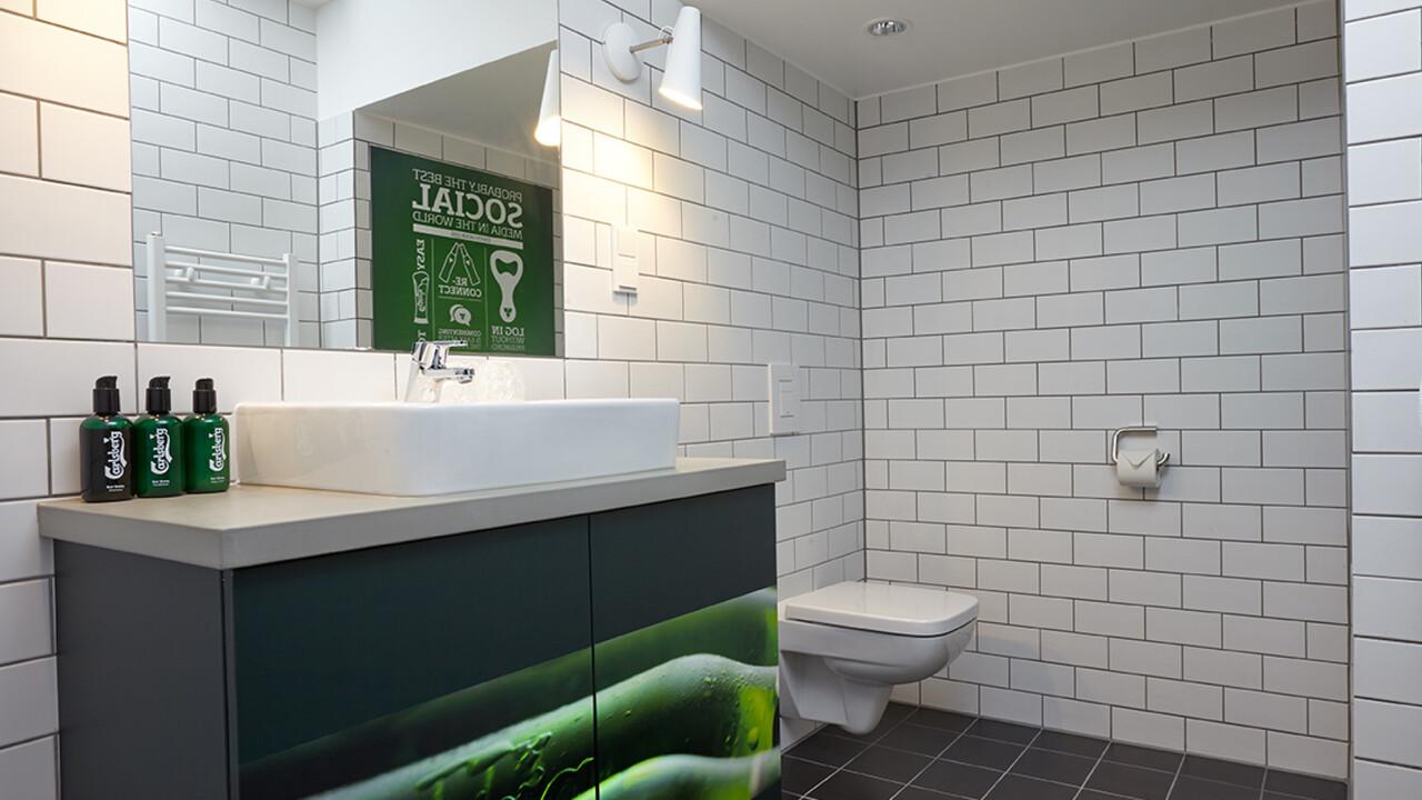 Carlsberg Aktion Badezimmer Seifenspender