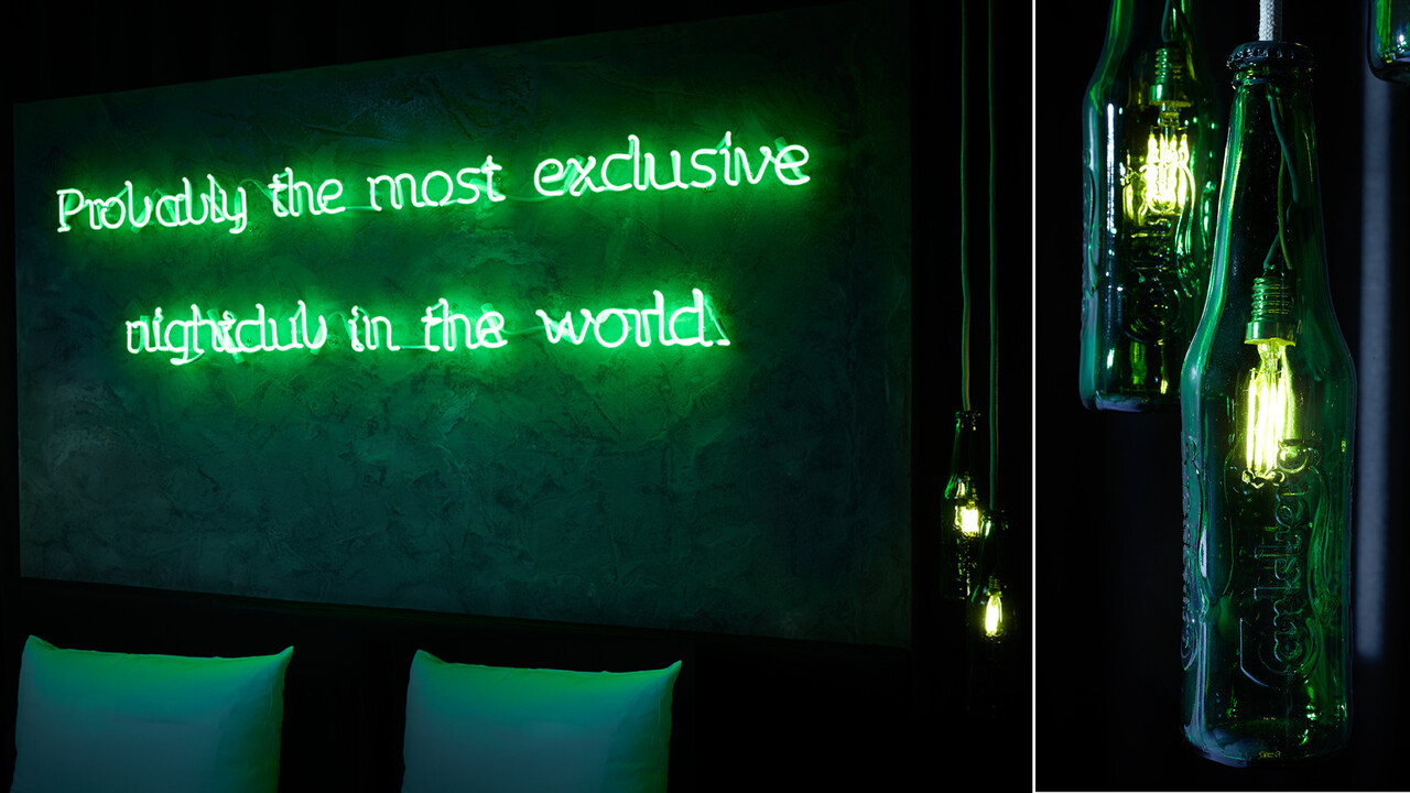Carlsberg Aktion Neon Schriftzug Probably the most exclusive nightclub in the world.