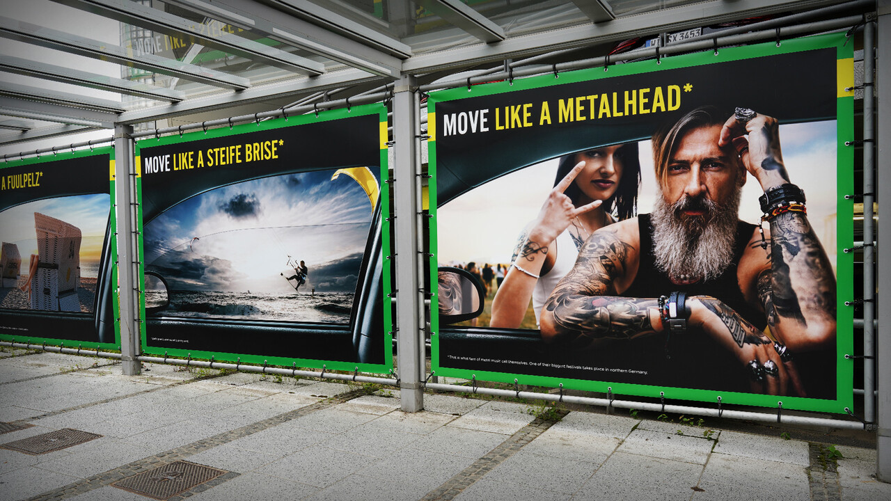 Europcar Hamburg Airport Branding Plakat Move like a Metalhead