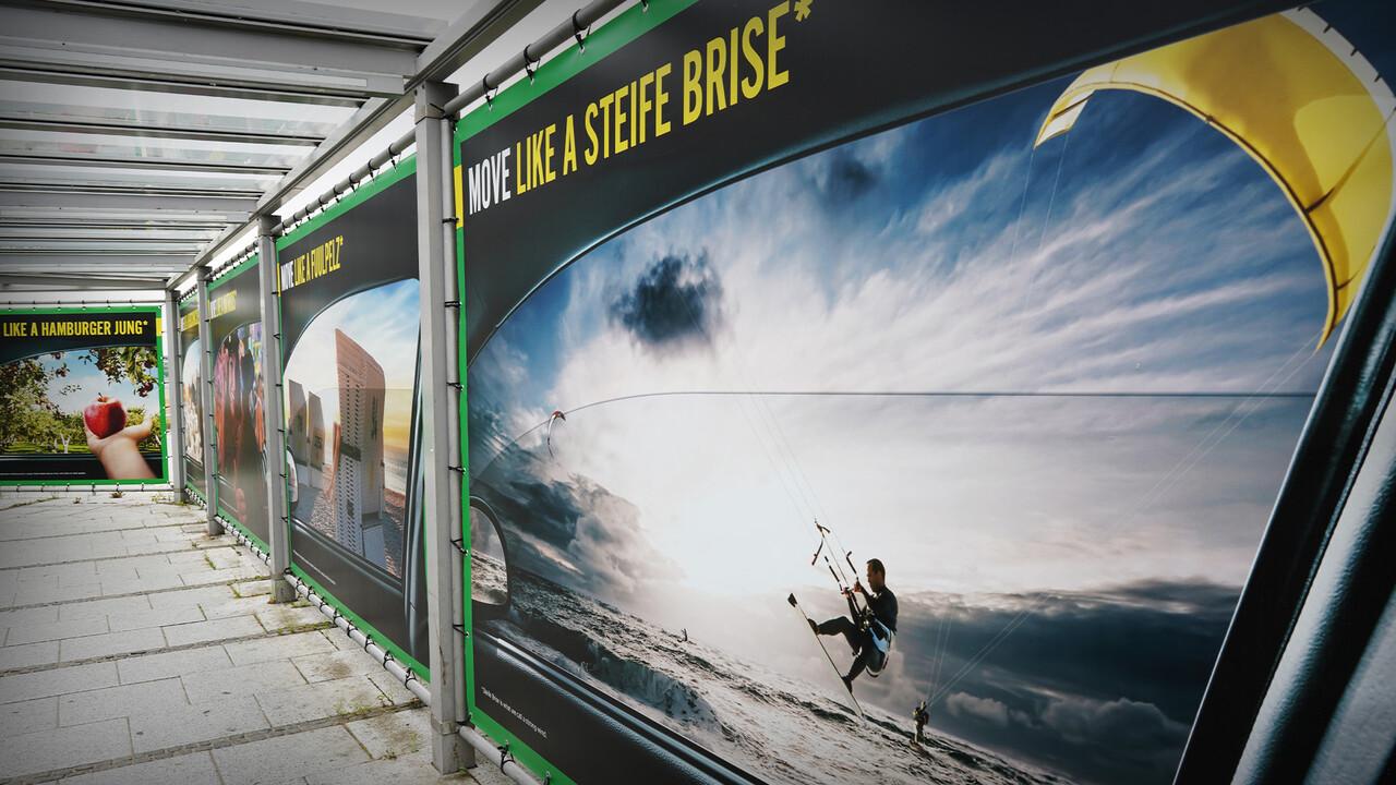 Europcar Hamburg Airport Branding Plakat Move like a steife Brise