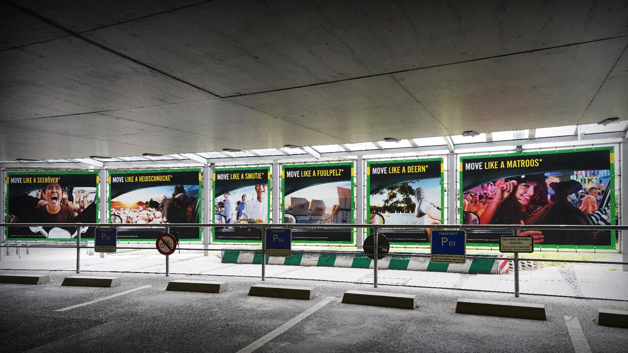 Europcar Hamburg Airport Branding Plakatreihe Tunnel in der Totalen