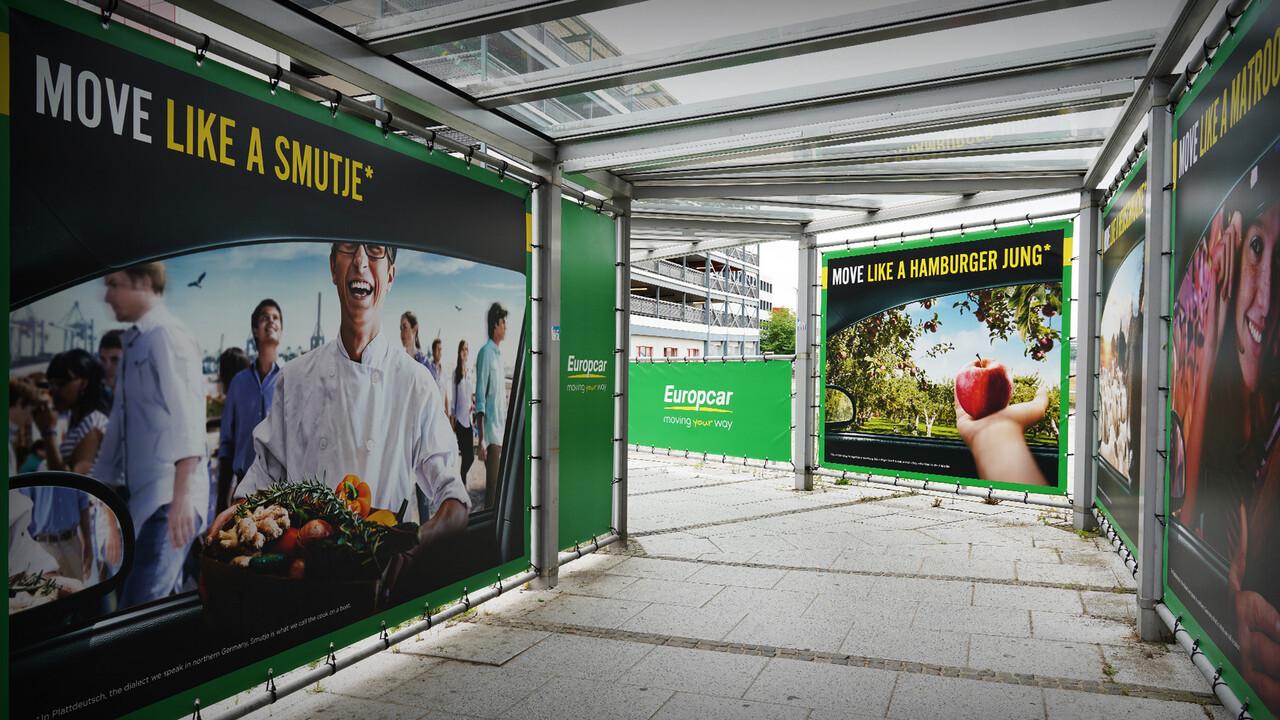 Europcar Hamburg Airport Branding Plakat Move like a Smutje mit Logo und anderen Plakaten