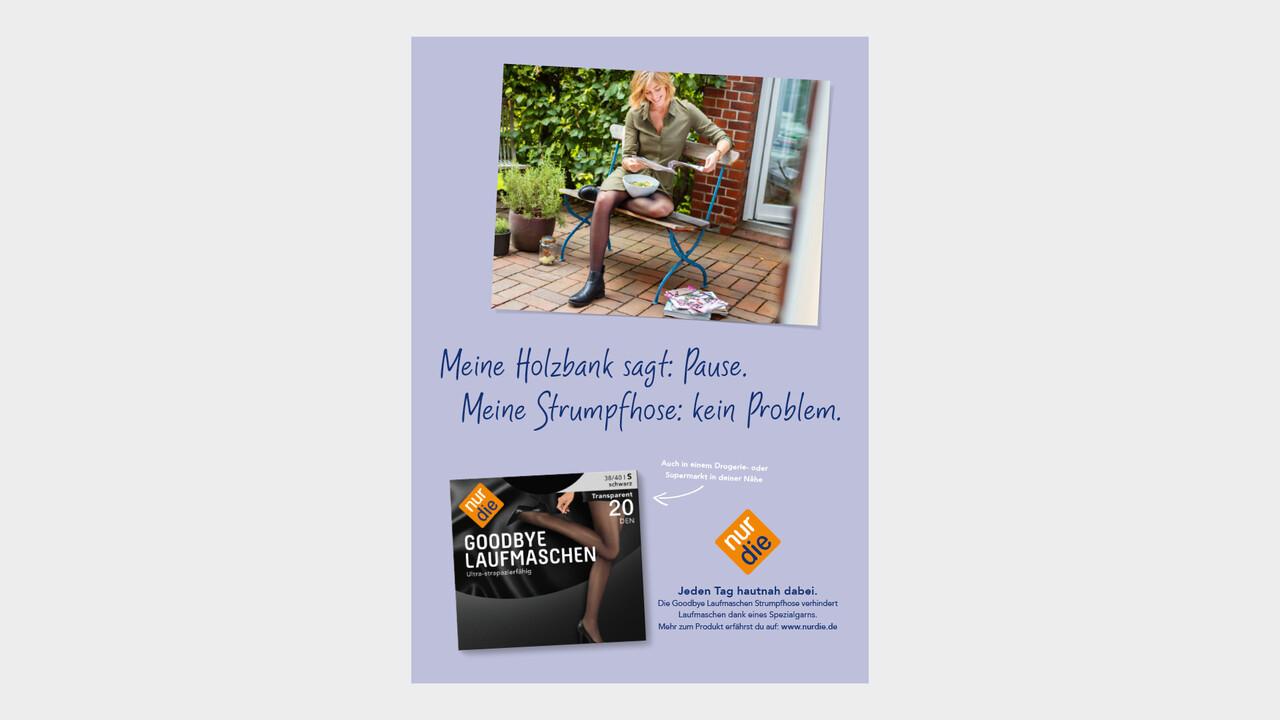nur die Print Anzeige Meine Holzbank sagt: Pause. Meine Strumpfhose: kein Problem.