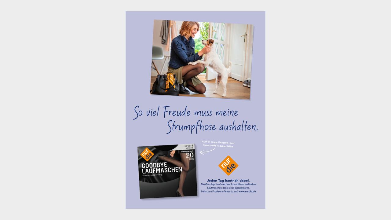 nur die Print Anzeige So viel Freude muss meine Strumpfhose aushalten.