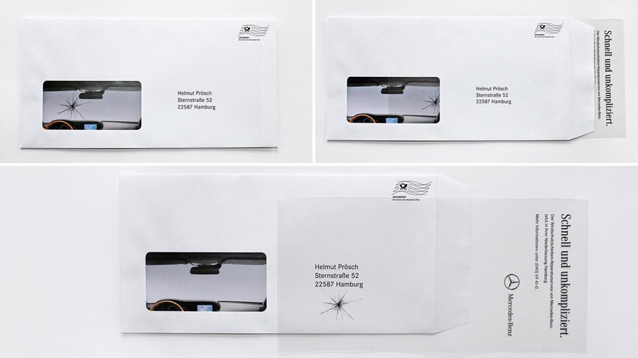 Mercedes Benz Niederlassung Hamburg Mailing gesprungene Frontscheibe