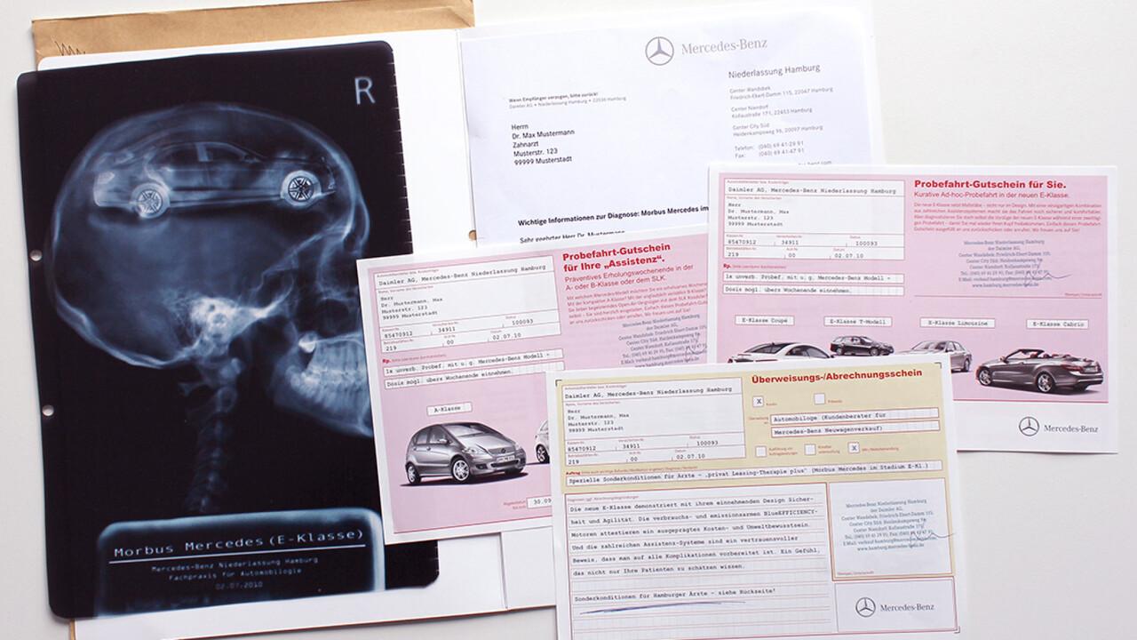 Mercedes Benz Niederlassung Hamburg Mailing Aerzte Rezept, Krankschreibung, Roentgen Diagnose Probefahrt