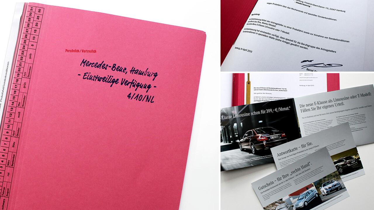 Mercedes Benz Niederlassung Hamburg Mailing Anwalt Akte, Schriftsatz, Visitenkarte