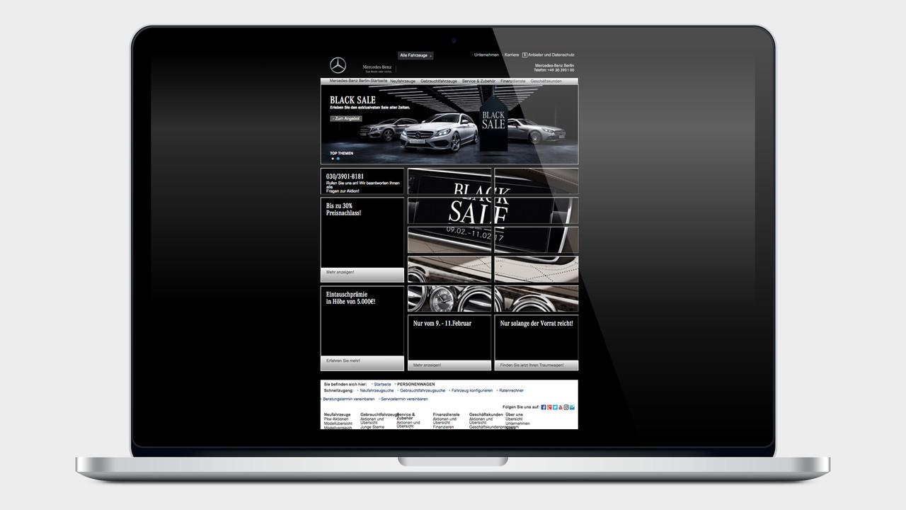 Mercedes Benz Black Sale Plattform auf einem MacBook