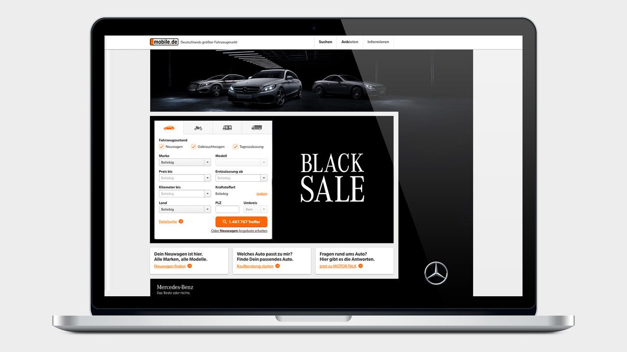 Mercedes Benz Black Sale mobile.de auf einem MacBook