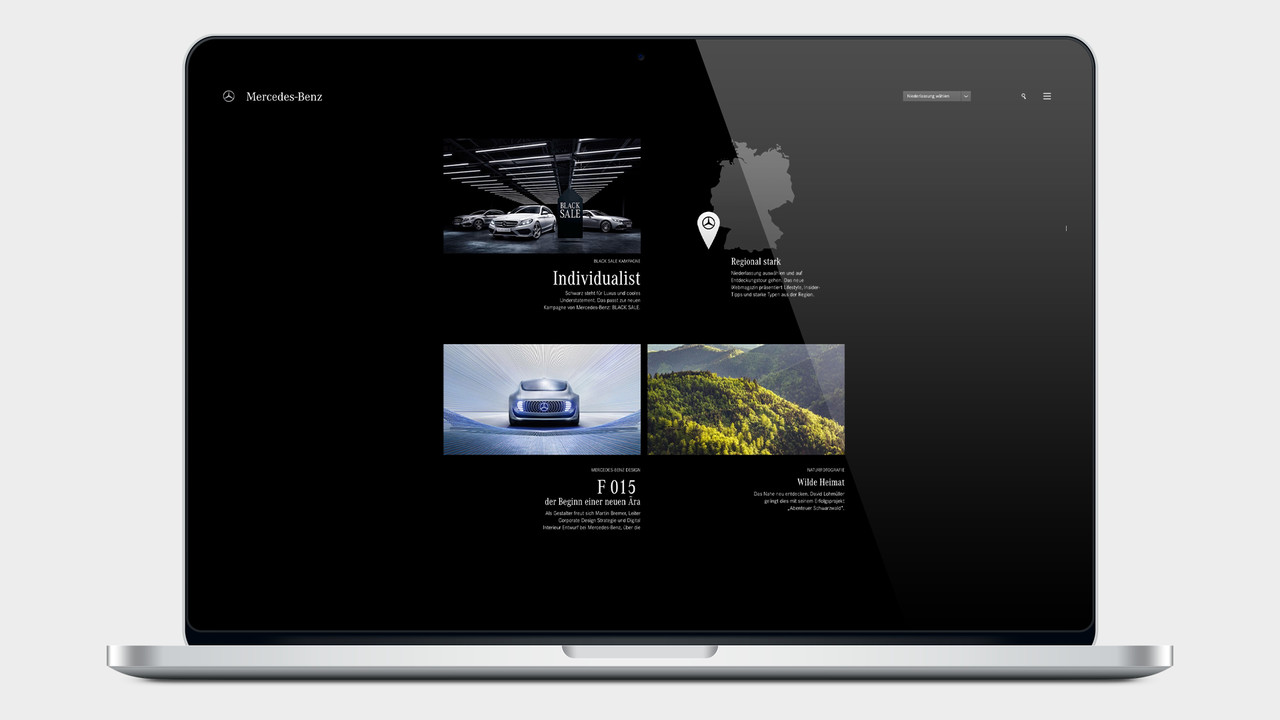 Mercedes Benz Black Sale Website auf einem MacBook