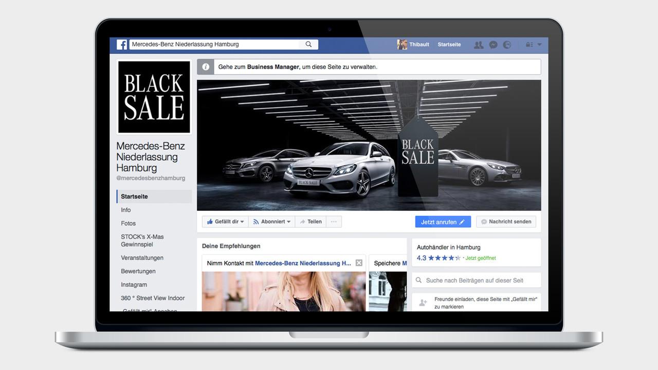 Mercedes Benz Black Sale facebook Page auf einem MacBook