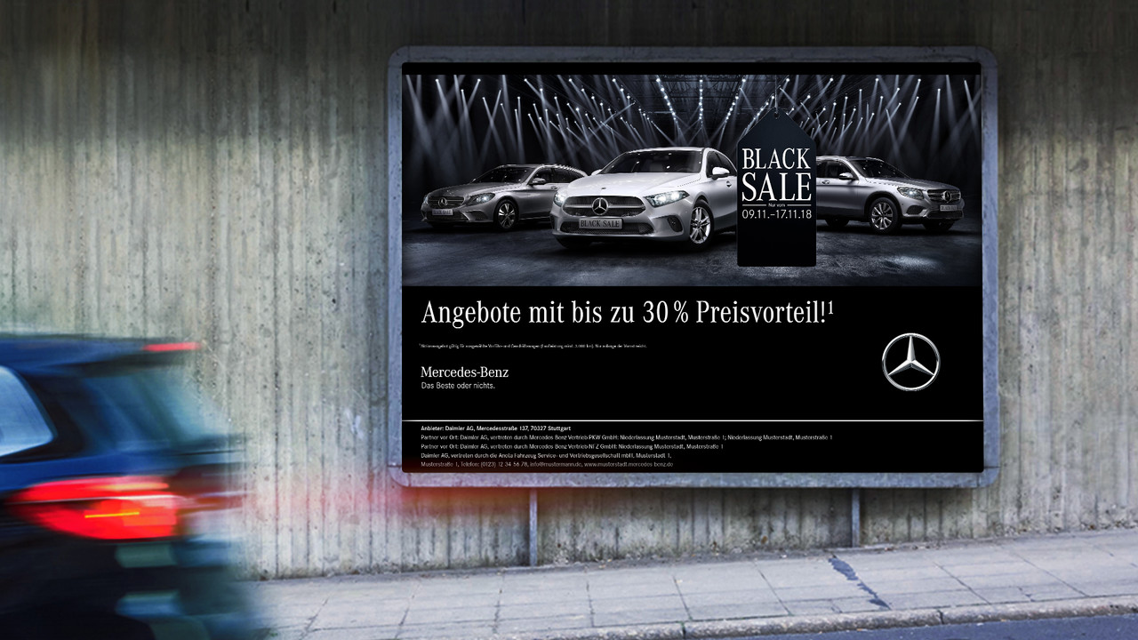 Mercedes Benz Black Sale OOH Plakat