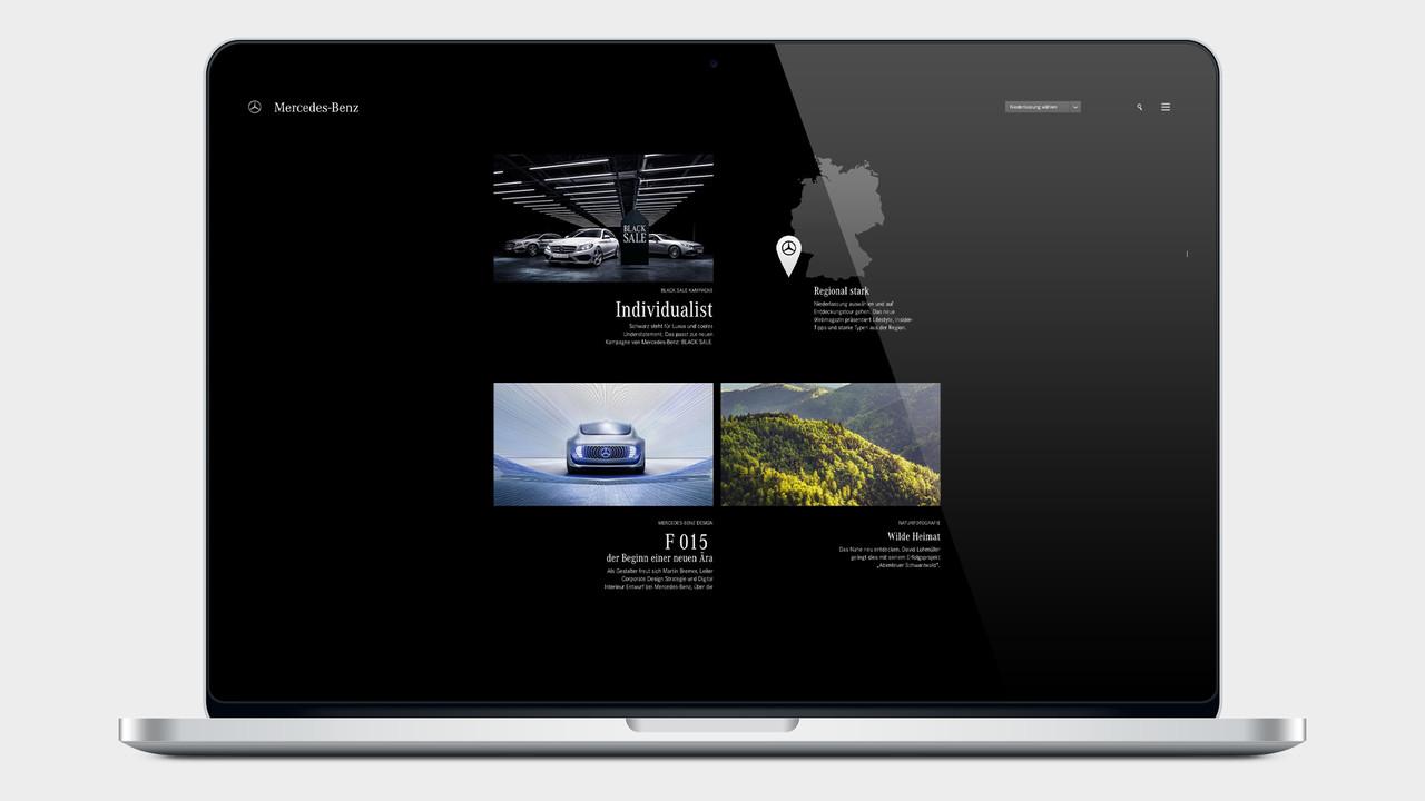 Mercedes Benz Black Sale Website auf einem MacBook