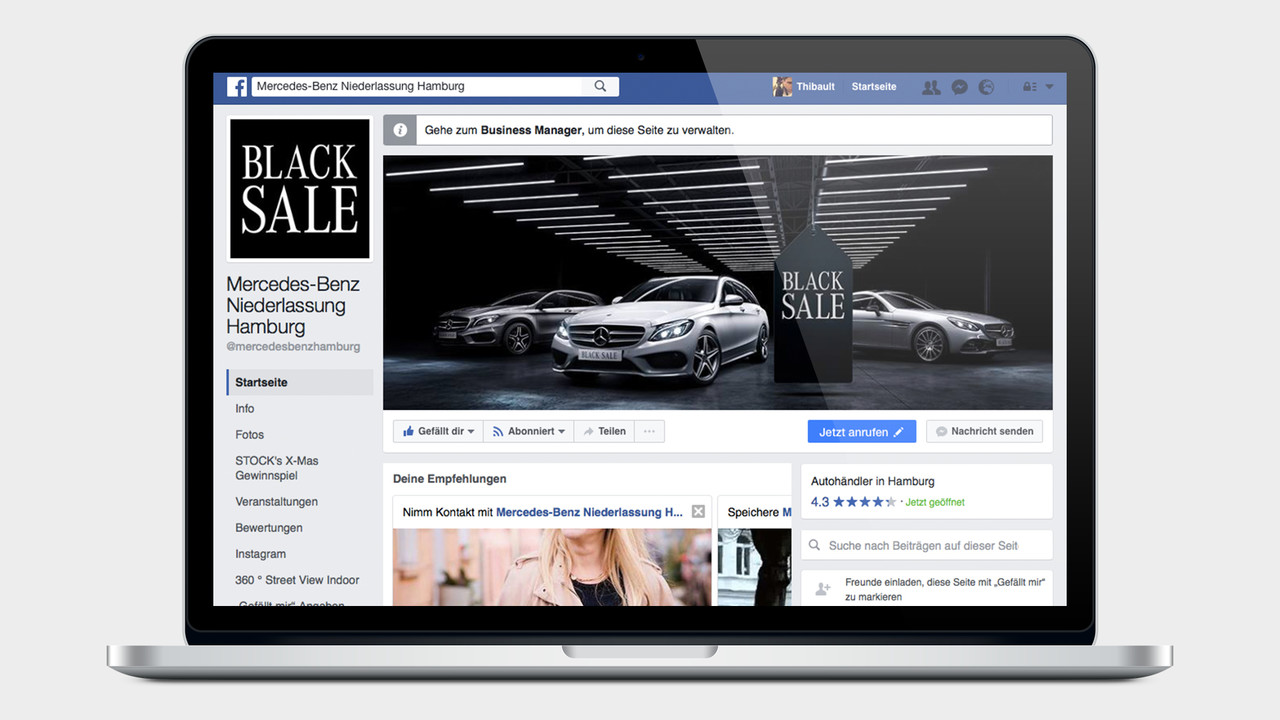 Mercedes Benz Black Sale facebook Page auf einem MacBook