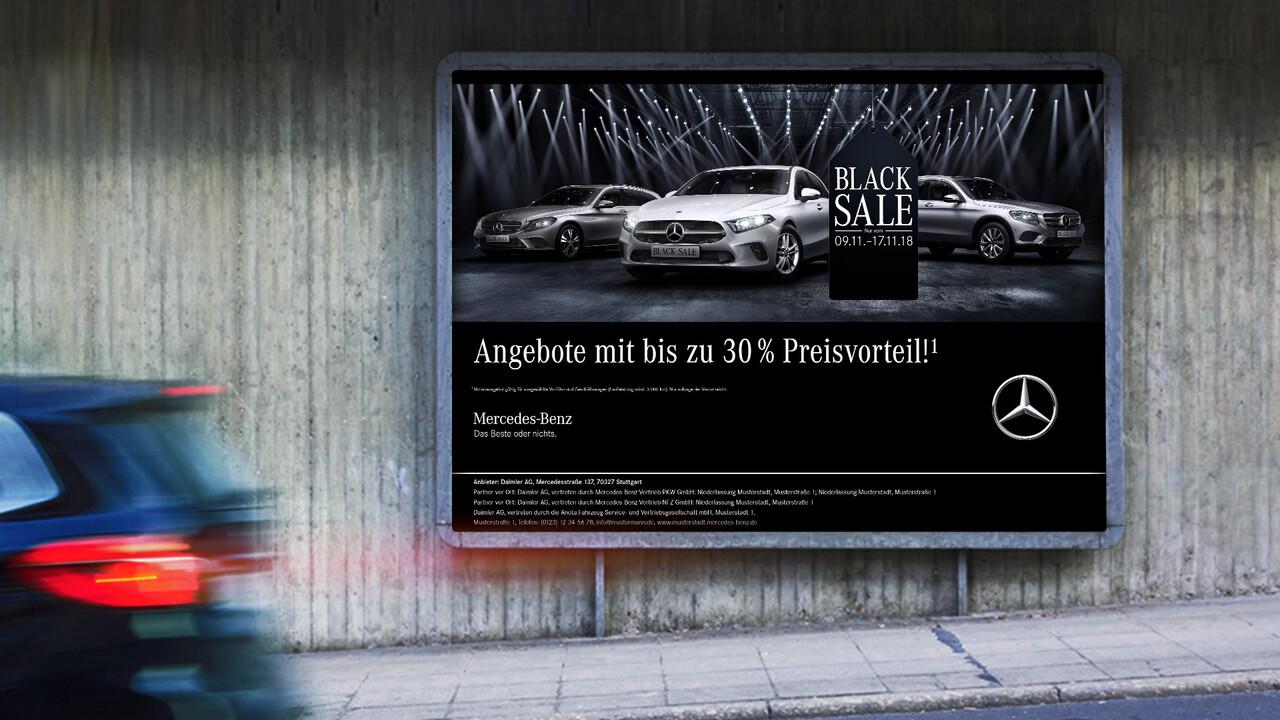 Mercedes Benz Black Sale OOH Plakat
