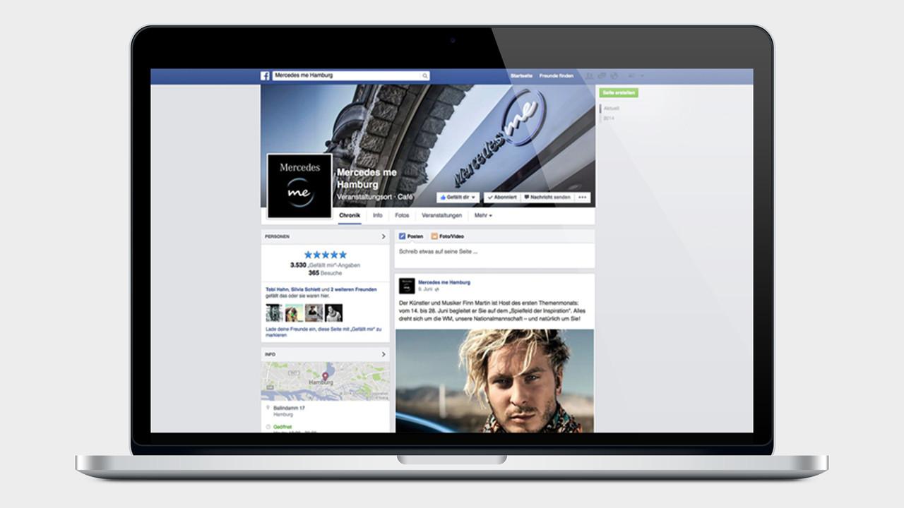 Mercedes me facebook Page auf einem MacBook