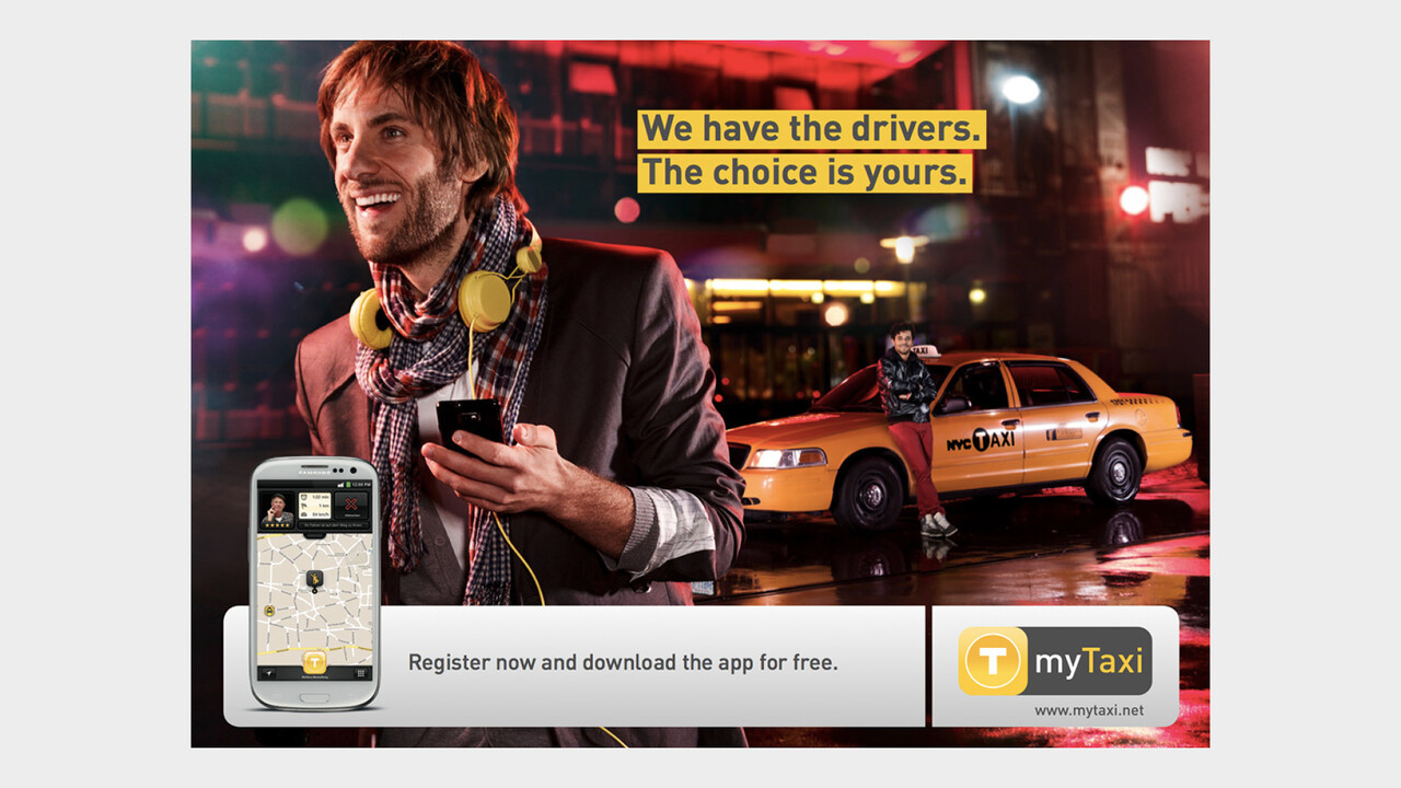 mytaxi Print Anzeige We have the drivers. The choice is yours.
