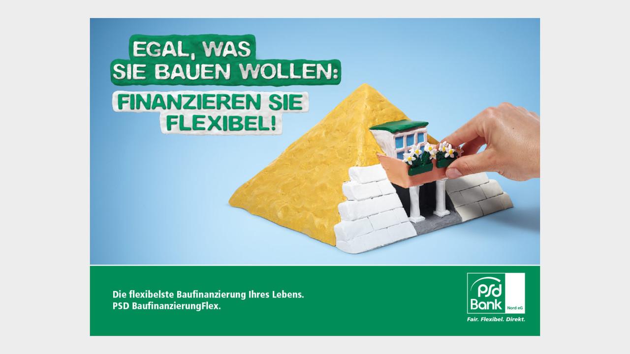 psd Bank Print Anzeige Pyramide Egal, was sie bauen wollen: Finanzieren sie flexibel!