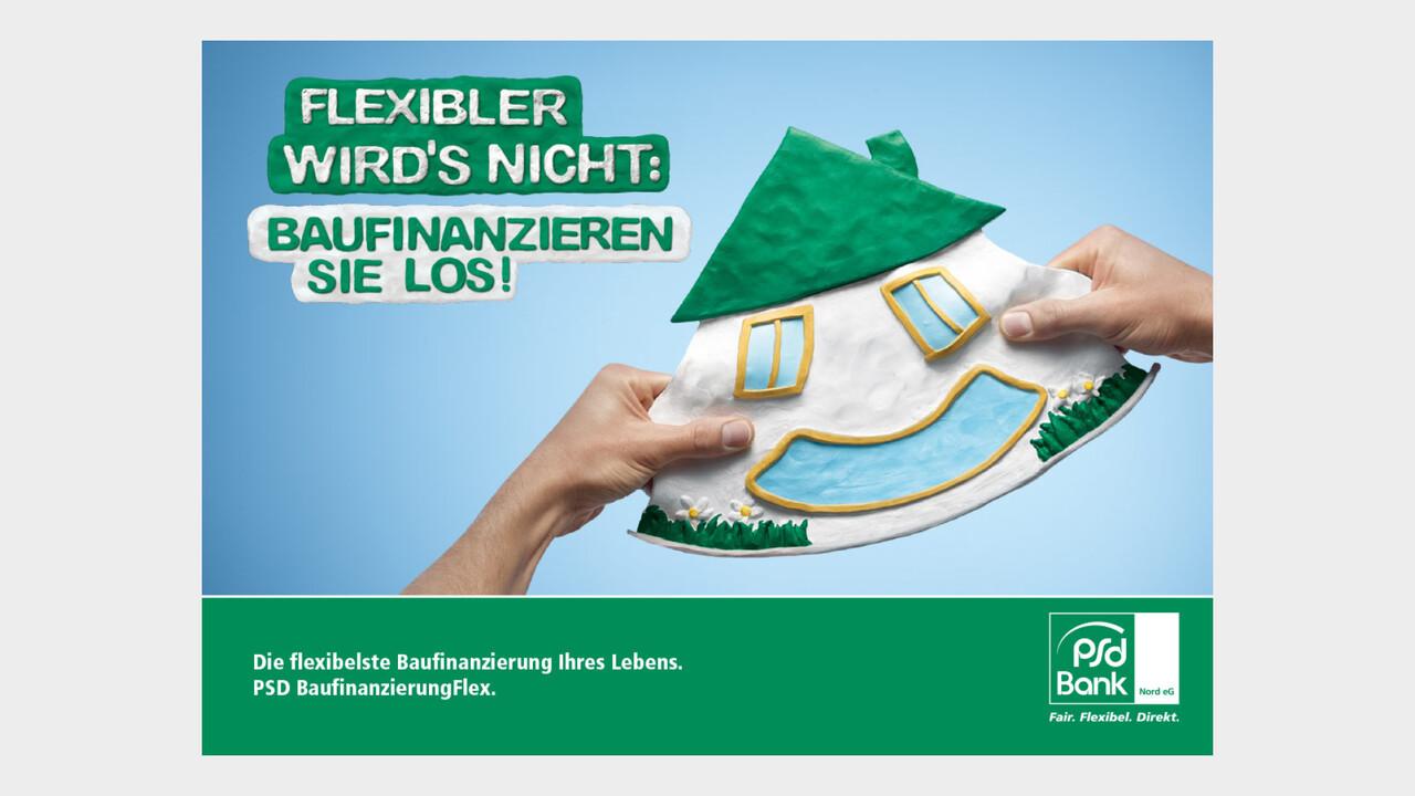 psd Bank Print Anzeige lachendendes Knetgummi Haus Flexibler wird's nicht: Baufinanzieren sie los!