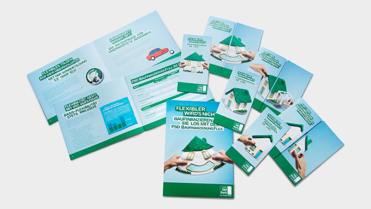 psd Bank Print Unterlagen Flyer, Broschüren lachendendes Knetgummi Haus flexibel Bausparen