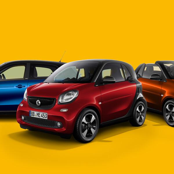 smart Keyvisual drei verschiedene smart Modelle vor gelbem Hintergrund