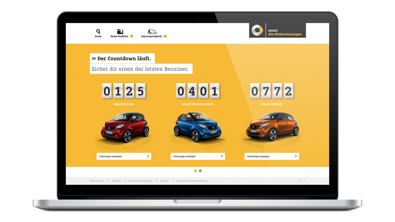 smart Website Countdown letzte smart Benziner Modelle