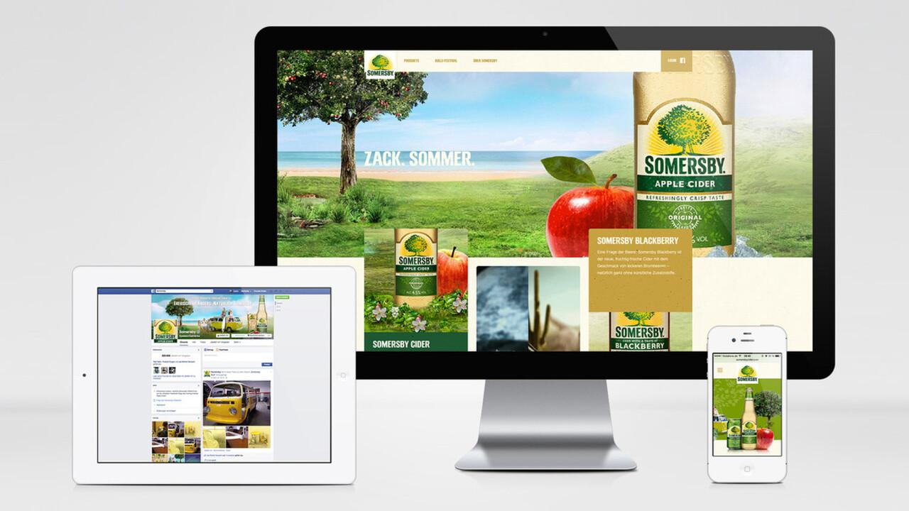 Somersby online auf verschiedenen Endgeräten facebook Website und Mobile