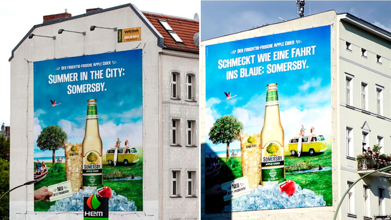 Somersby OOH zwei Riesenposter Summer in the City: Somersby und Schmeckt wie eine Fahrt ins Blaue: Sommersby