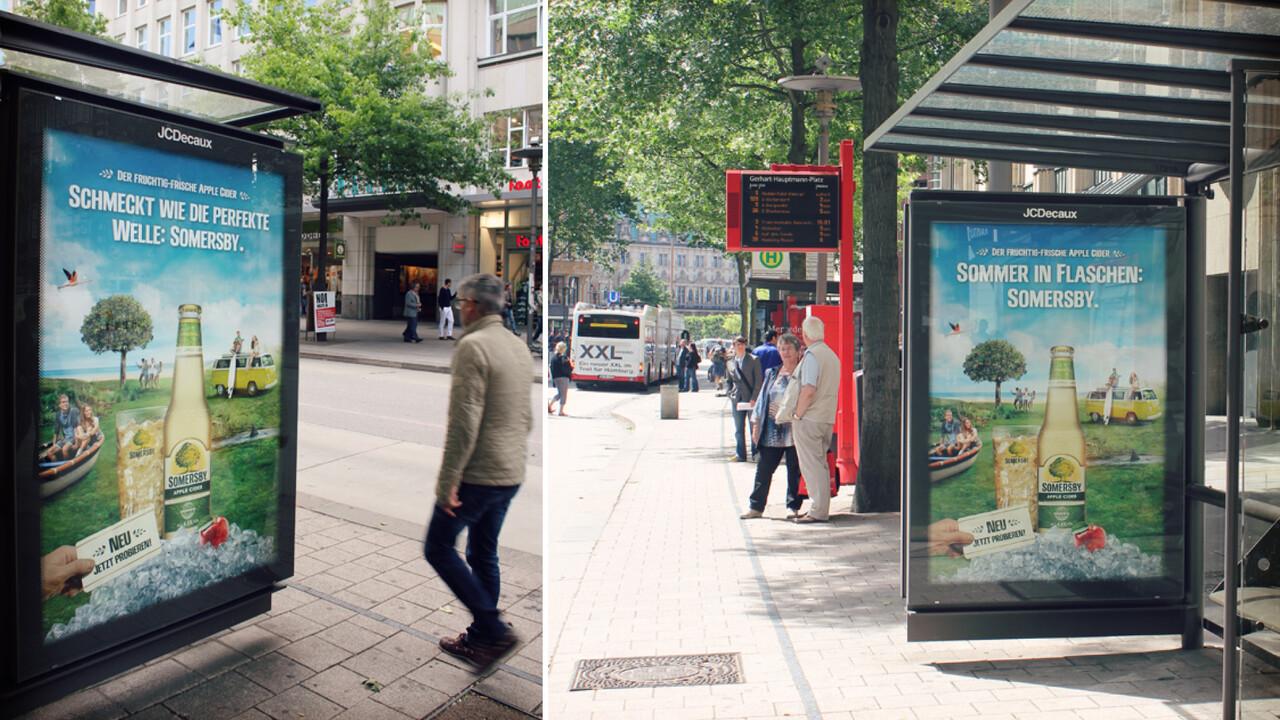 Somersby OOH Poster in der Bushaltestelle