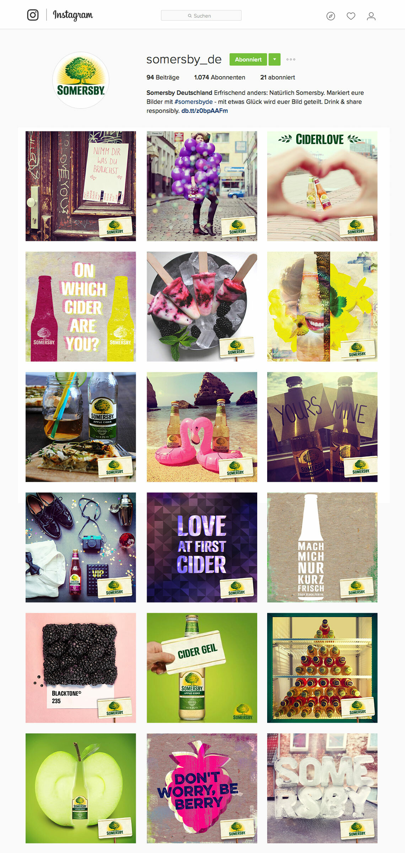 Somersby Screenshot des Somersby Instagram Account mit mehreren Postings