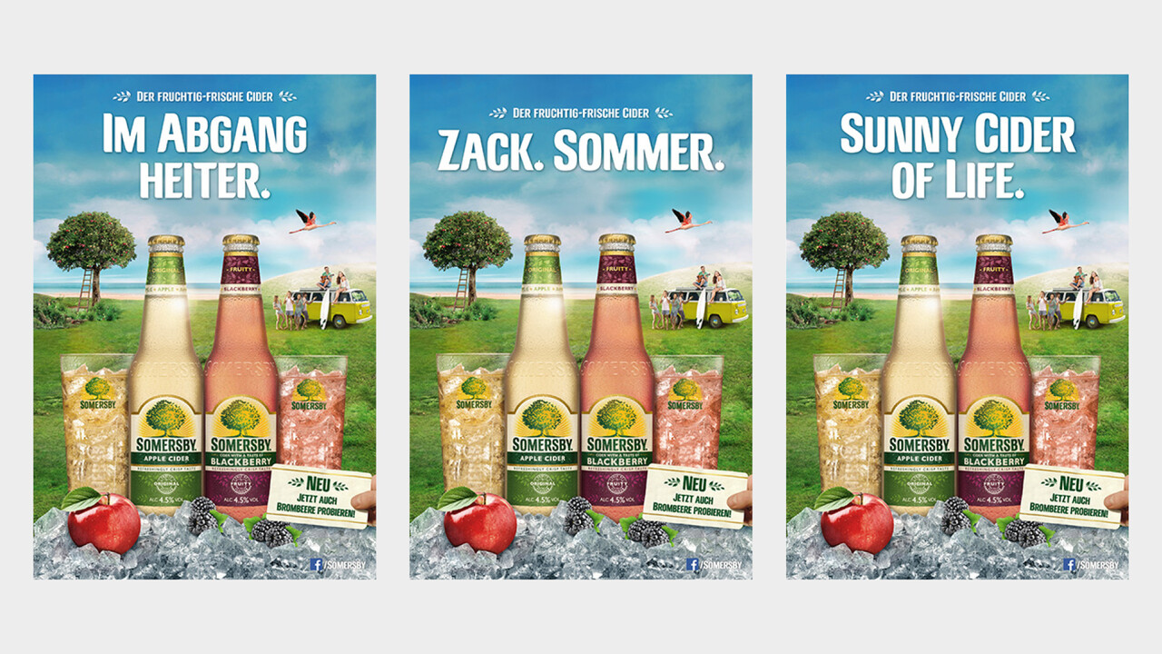 Somersby POS Plakate Im Abgang heiter., Zack. Sommer., Sunny Cider of Life.