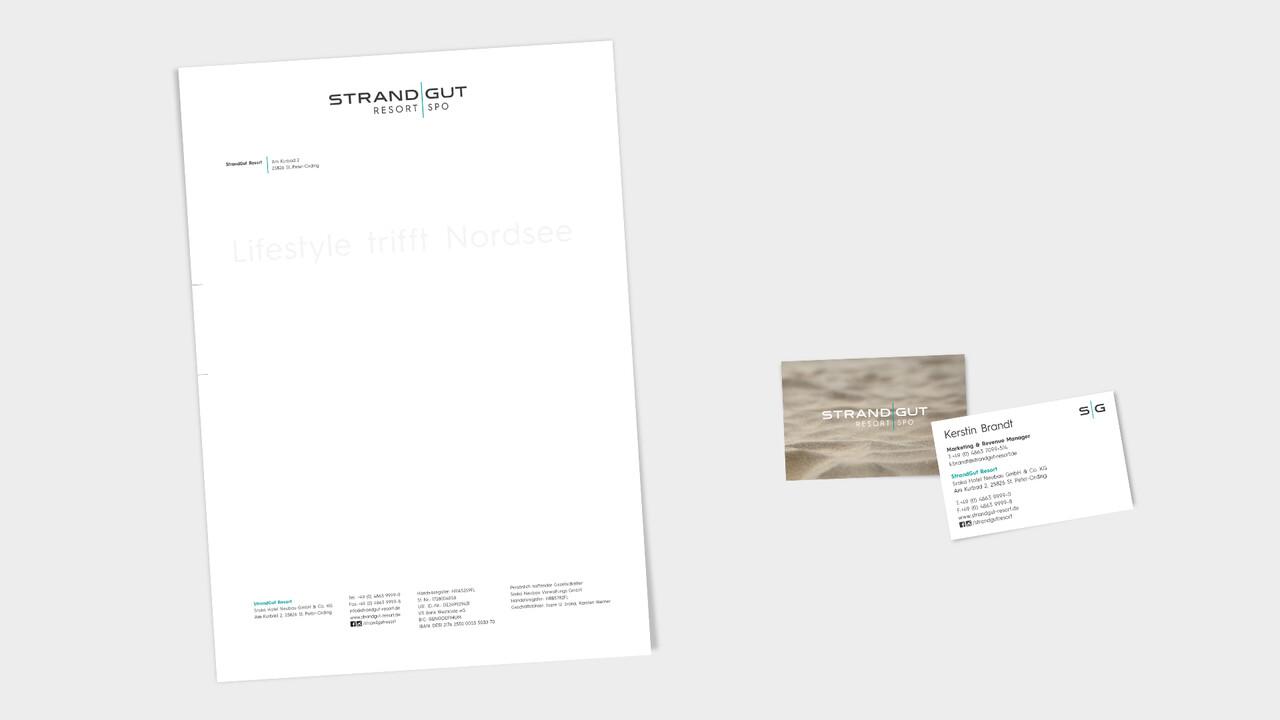 StrandGut Resorts Geschaeftsausstattung Briefbogen, Visitenkarte