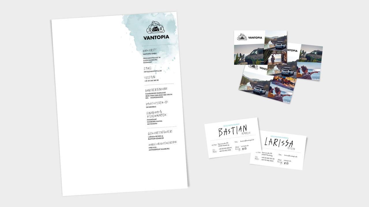 Vantopia Geschaeftsausstattung Briefbogen, Visitenkarten