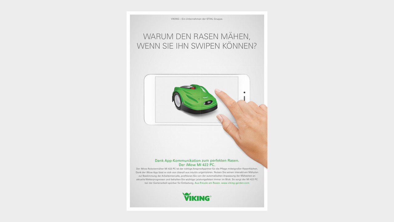 VIKING Print Anzeige Warum den Rasen maehen, wenn Sie Ihn Swipen koennen?