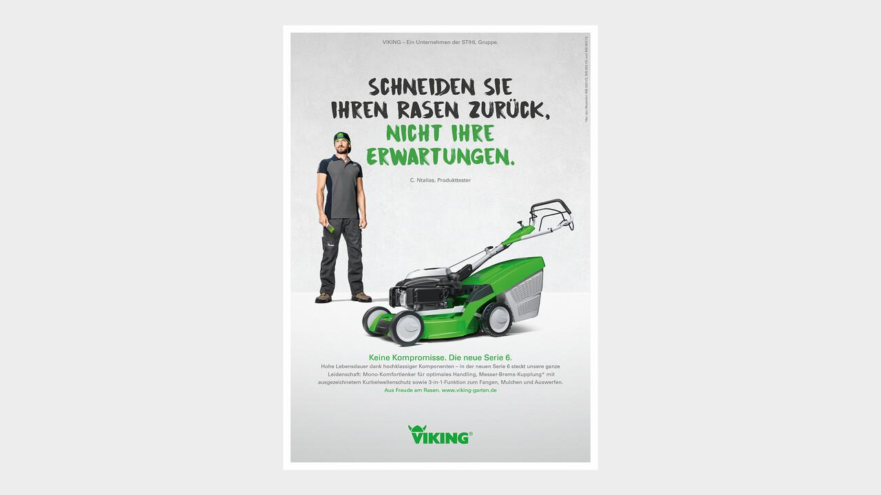 VIKING Print Anzeige Schneiden Sie Ihren Rasen zurück, nicht Ihre Erwartungen.